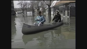 Archive footage of Grand Forks' devastating flood